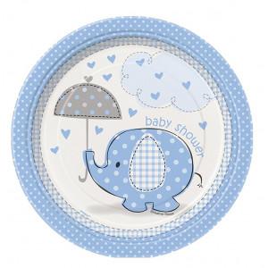 Confezione 8 Piatti Carta 17 cm , Baby Shower Nascita Bimbo   | Pelusciamo.com
