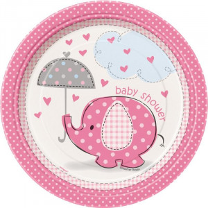 Confezione 8 Piatti Carta 17 cm , Baby Shower Nascita Bimba PS 20672 | Pelusciamo.com