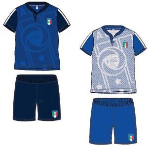 Pigiama Serafino Corto Bambino Italia Figc *17925 Abbigliamento Ufficiale