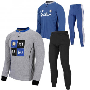 Pigiama Uomo Inter Lungo Abbigliamento Calcio FC Internazionale PS 26888 Pelusciamo Store Marchirolo