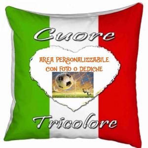 Cuscino Tifoso Cuore tricolore 40x40 cm Personalizzabile Foto o Frasi PS 10354 Gadget Personalizzato Pelusciamo Store Marchirolo