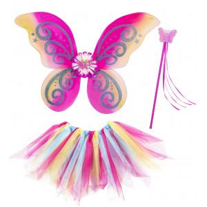 Set Tutu, Ali, Bacchetta per Costume Carnevale Fatina