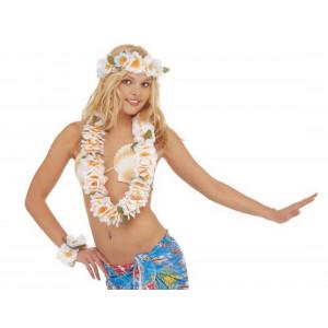 Set Costume Hawaiana Collana , Corna e Bracciale Floreale Bianco Carnevale | pelusciamo.com