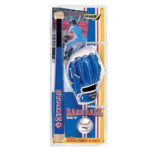 Set baseball strike 3 con mazza in legno 60 cm guanto e palla PS 06907 PELUSCIAMO STORE