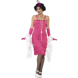 Costume Carnevale Donna Charleston Rosa Flapper Gonna Lunga PS 25322