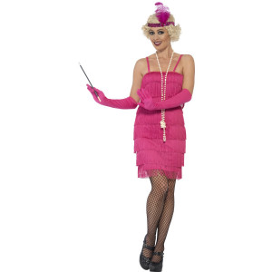 Costume Carnevale Charleston Rosa Flapper Anni 20 Gonna Corta PS 25317 Pelusciamo Store Marchirolo