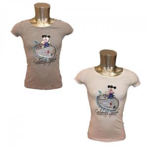 T-Shirt Donna Hello Spank romantic Cruising Maglietta con Pailletes | pelusciamo.com