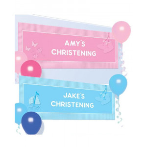 Banner da Appendere Personalizzabile con Lettere Battesimo