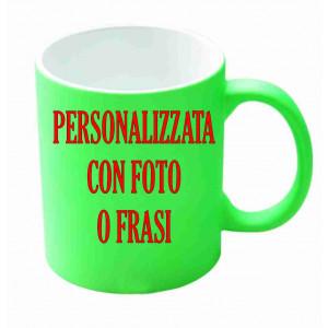 Tazza In Ceramica Verde Fluo Personalizzabile Foto Dediche PS 09372 Tazze Personalizzata