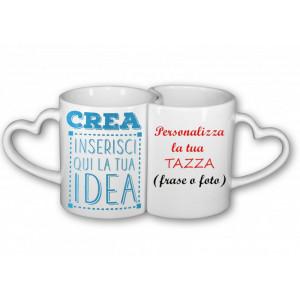 Coppia Tazze  In Ceramica Manico Cuore Personalizzabili  |  Pelusciamo Store Marchirolo