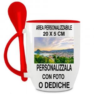 Tazza Conica Con Cucchiaino Rosso Personalizzabile Foto PS 11483 Tazze Personalizzate Tazze Personalizzate Pelusciamo Store Marchirolo