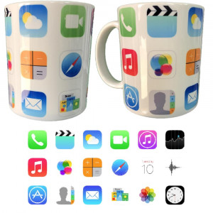 Tazza In Ceramica Icone I-Phone... Tazze Simpatiche Personalizzate PS 09370-03 Pelusciamo Store Marchirolo