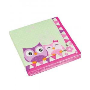 Set 20 Tovaglioli carta, Accessori Compleanno Gufi    | pelusciamo.com