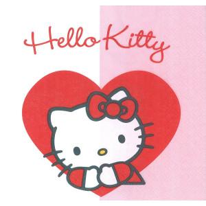 Confezione 20 Tovaglioli Carta Hello KItty Cuore | pelusciamo.com