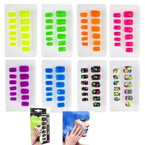 Unghie Adesive Colori Fluorescenti Accessorio Carnevale Fluo