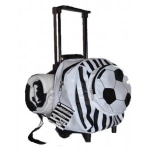 1743828b9c Zainetto asilo mini trolley con maniglia + plaid pile bianco nero PS 17204