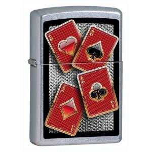 Accendino Zippo Carte Poker Cromato a Benzina | Pelusciamo.com