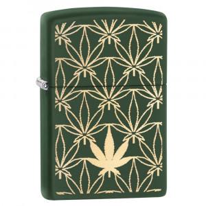Accendino Zippo Marijuana a Benzina PS 16636 Ottone Opaco | Pelusciamo.com