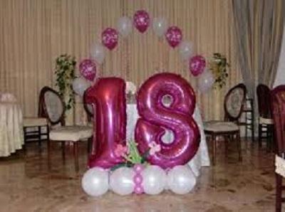 composizione palloncini festa 18 anni